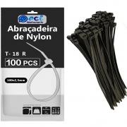 Abraçadeira De Nylon 100 X 2,5 Mm Preta com 100 unidades