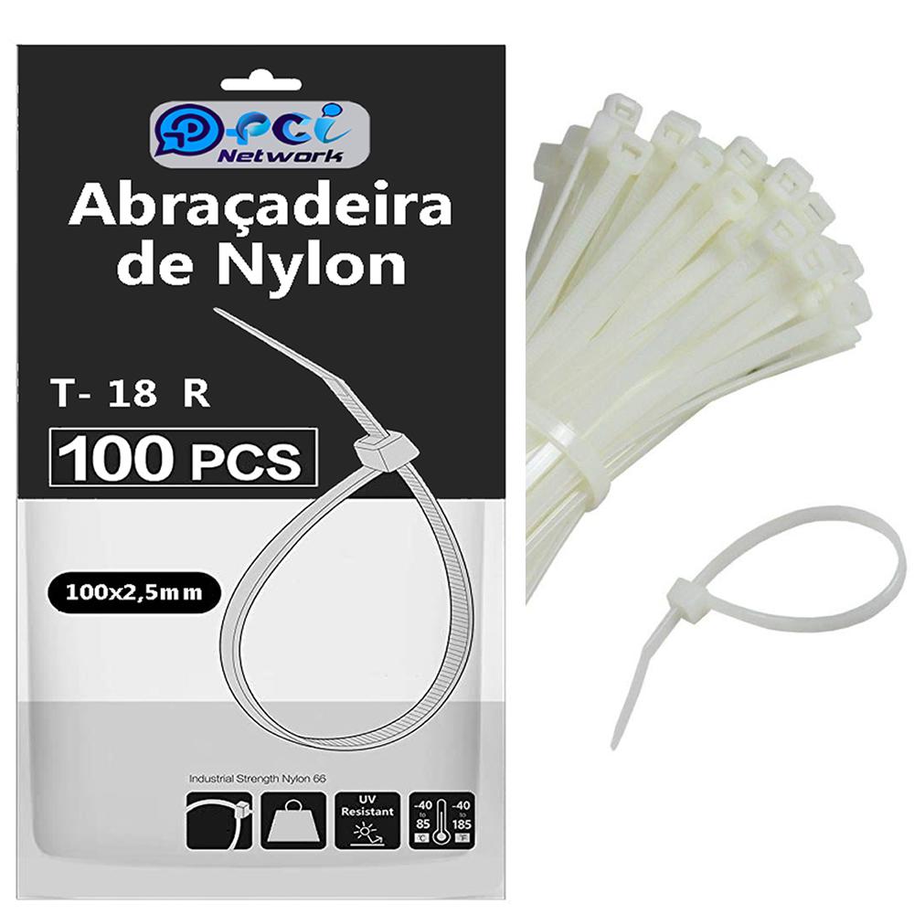 Abraçadeira De Nylon 100 X 2,5 Mm Branca com 100 unidades