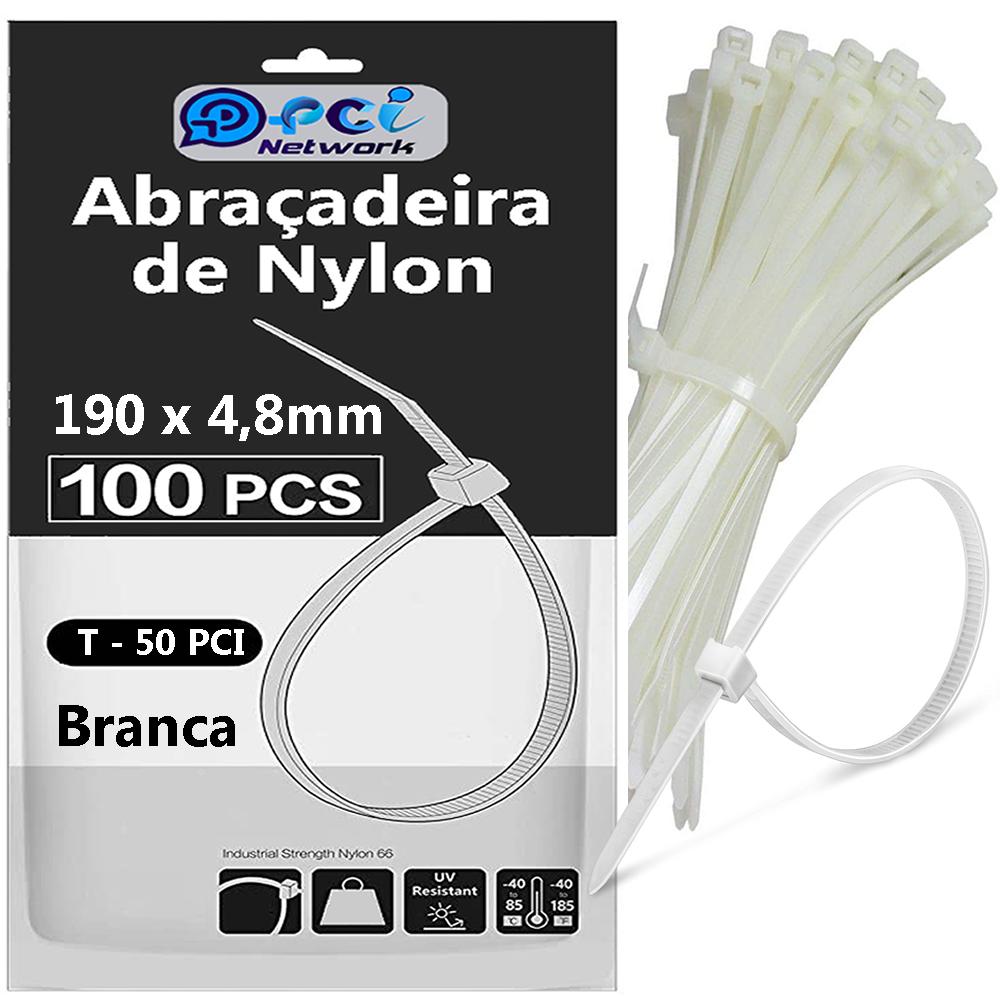 Abraçadeira De Nylon 190 X 4,8 mm Branca com 100 unidades