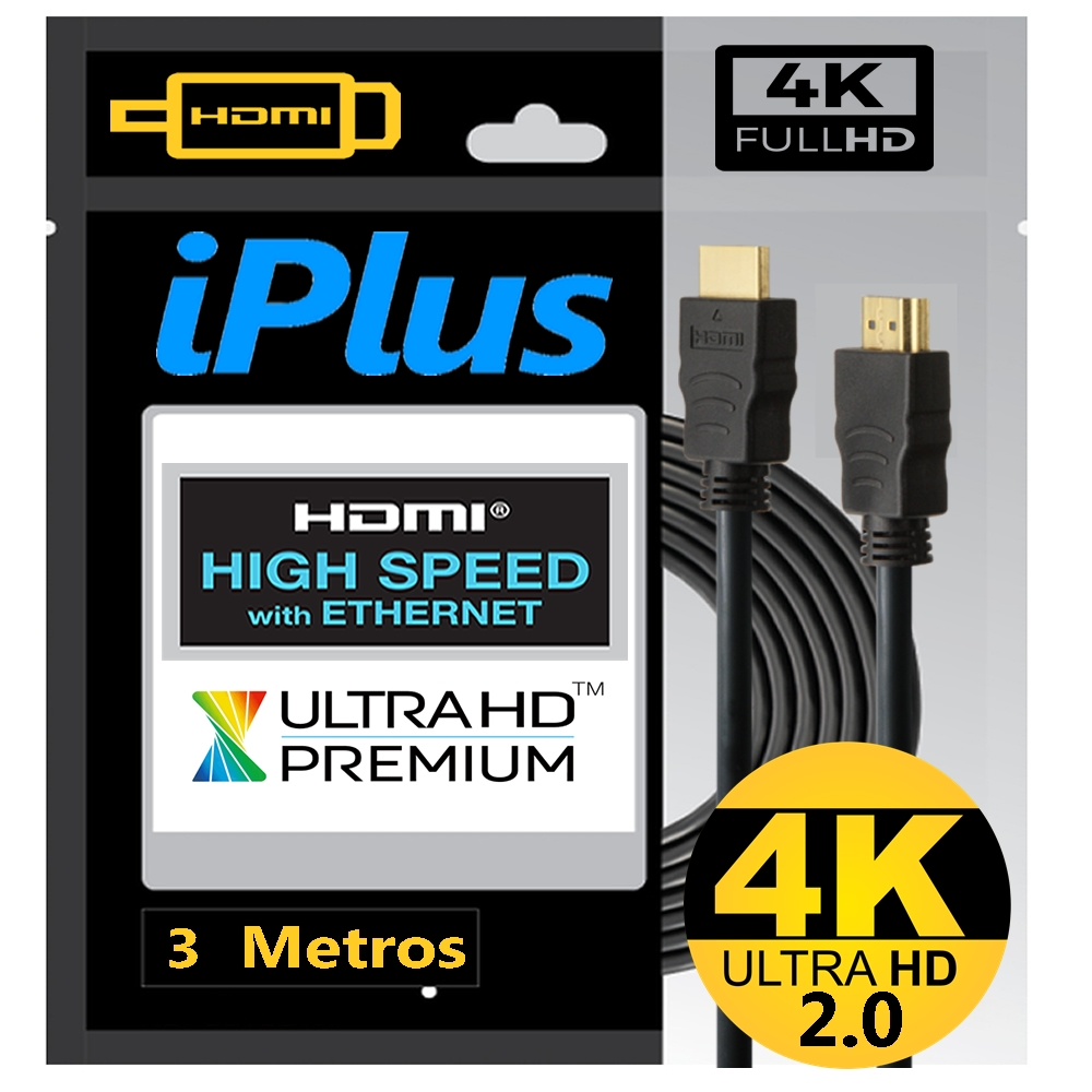 Cabo HDMI 2.0 3D 4K Ultra HD 3 Metros IPlus