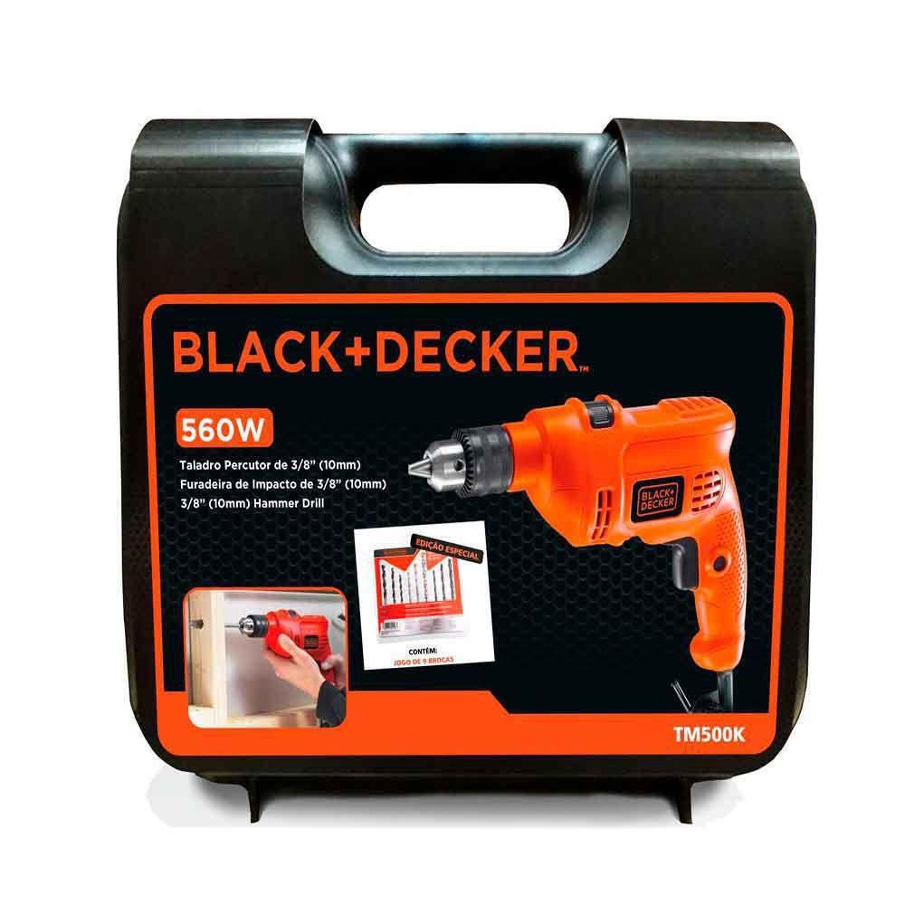 KIT Furadeira De Impacto Black Decker 3/8 560w 127V Com Maleta e Brocas TM500KB9BR