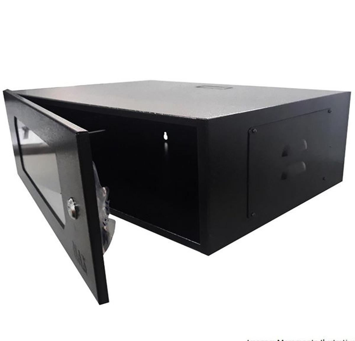 """Mini Rack 3U x 550 mm Parede 19"""" Fechado Com Porta em Policarbonato"""