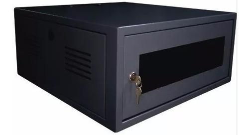 """Mini Rack 4U x 550 mm Parede 19"""" Fechado Com Porta em Policarbonato"""