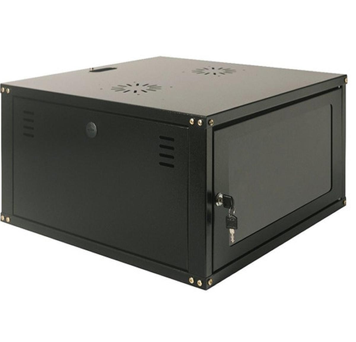 """Mini Rack 5U x 550 mm Parede 19"""" Fechado Com Porta em Policarbonato"""