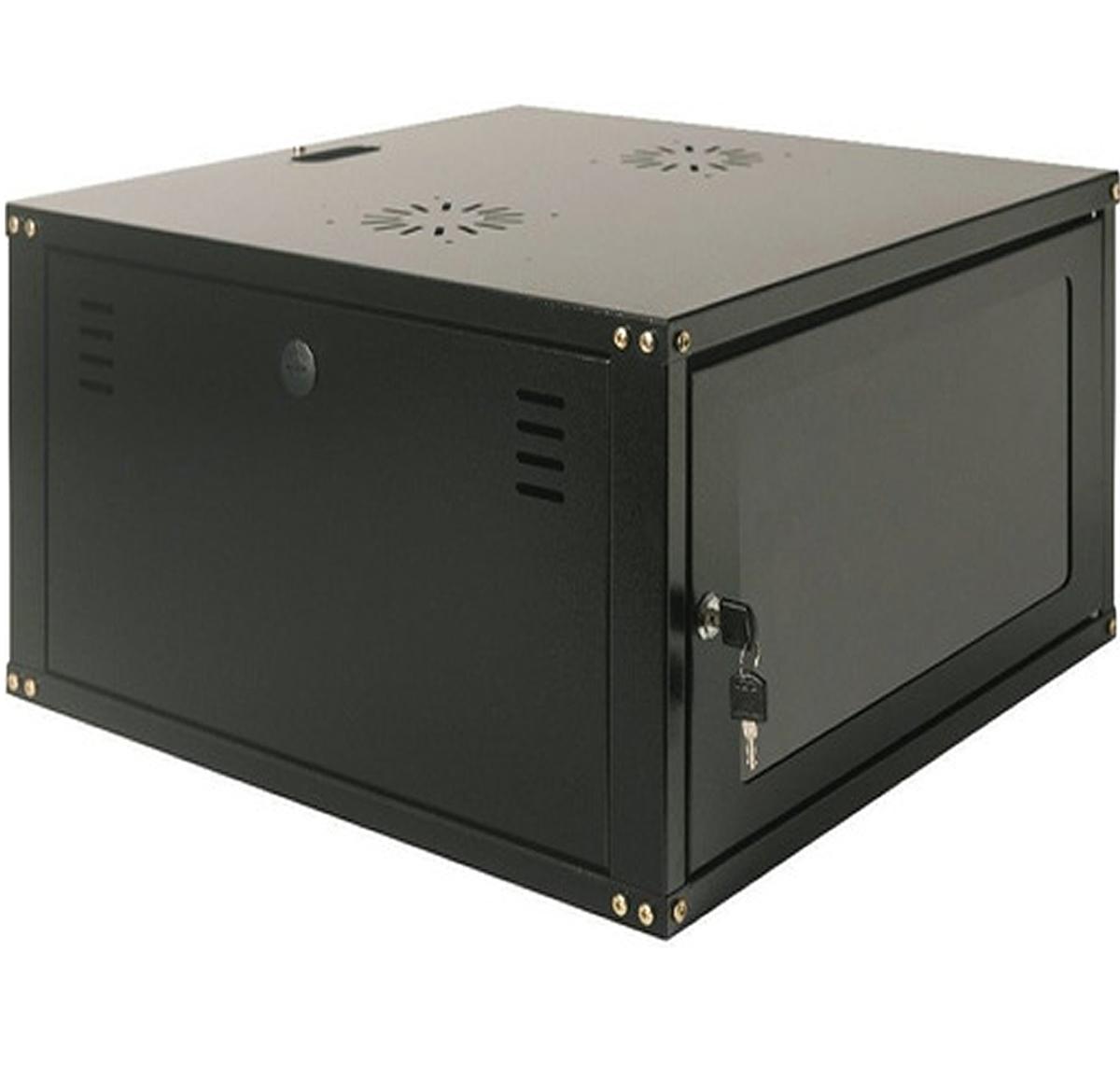 """Mini Rack 7U x 550 mm Parede 19"""" Fechado Com Porta em Policarbonato"""