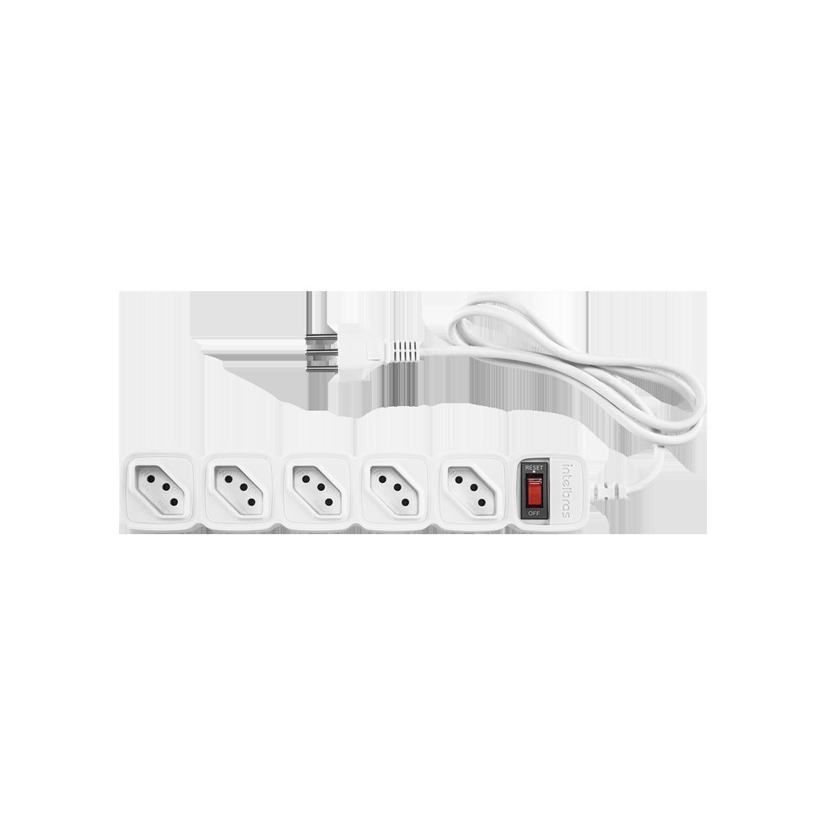 Protetor eletrônico 5 tomadas Filtro de Linha Intelbras EPE 205 Branco
