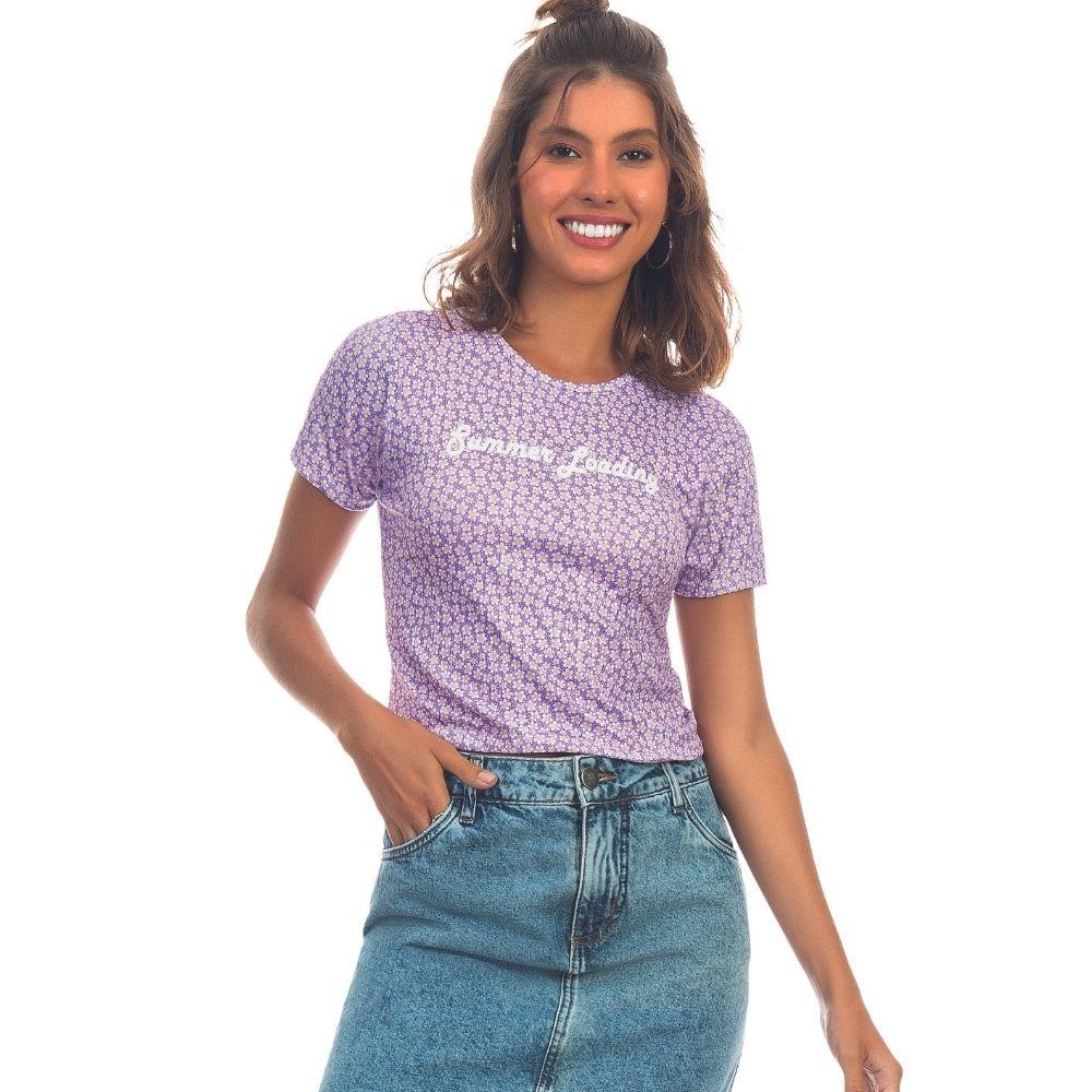 T-Shirt em Malha Floral Lecimar