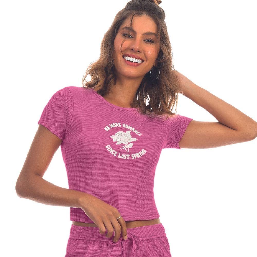 T-shirt em Ribana Trabalhada Lecimar