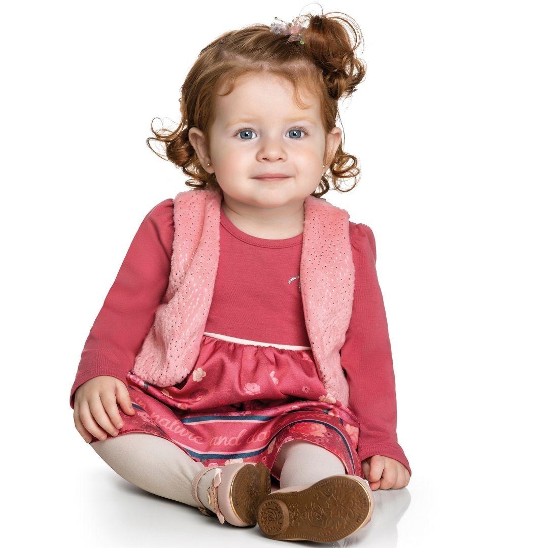 Vestido Infantil com Colete em Pelinho