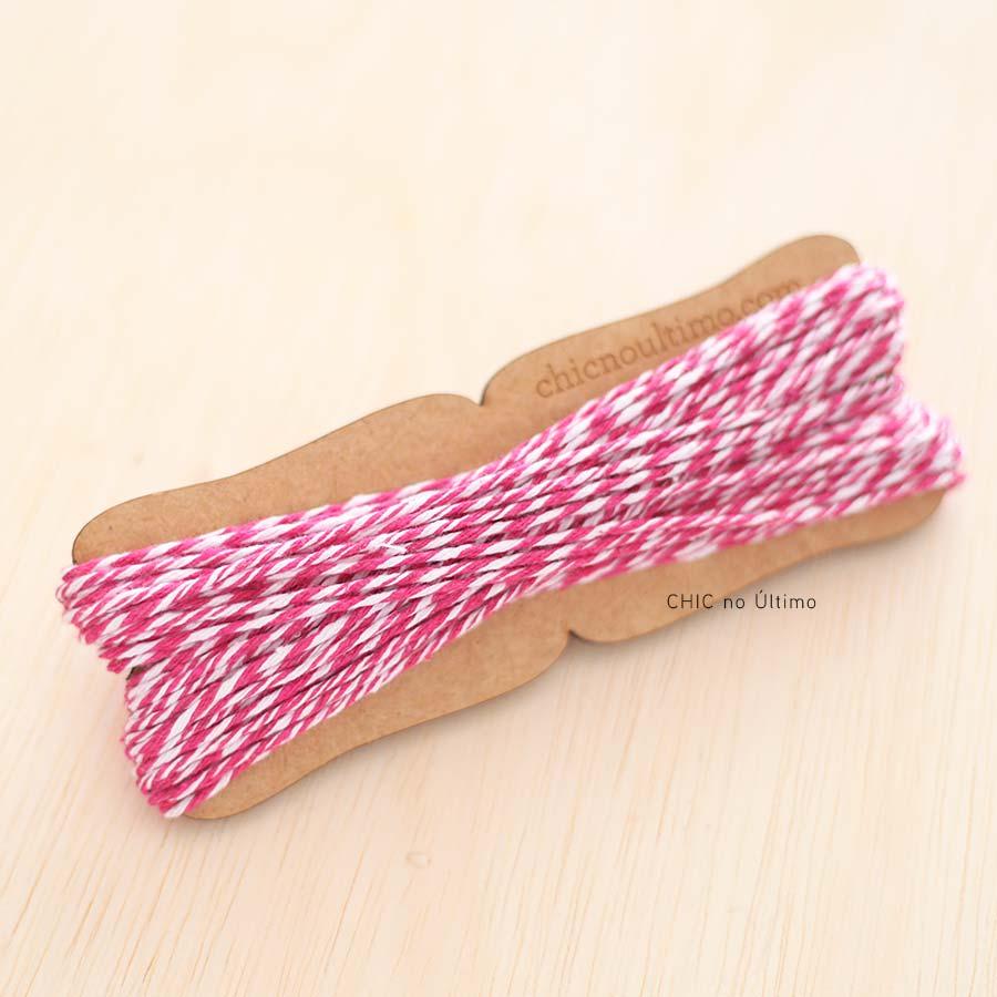 Barbante fio de algodão bicolor Branco e Pink - 20 metros