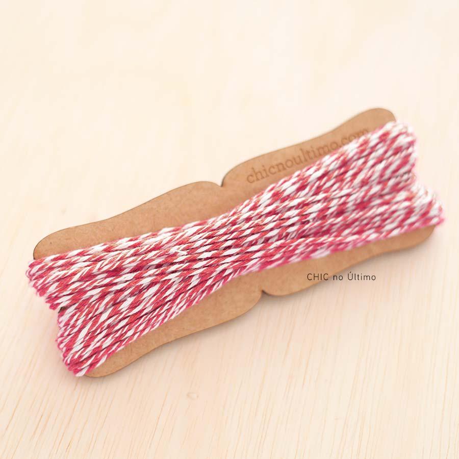 Barbante fio de algodão bicolor Branco e Vermelho - 20 metros