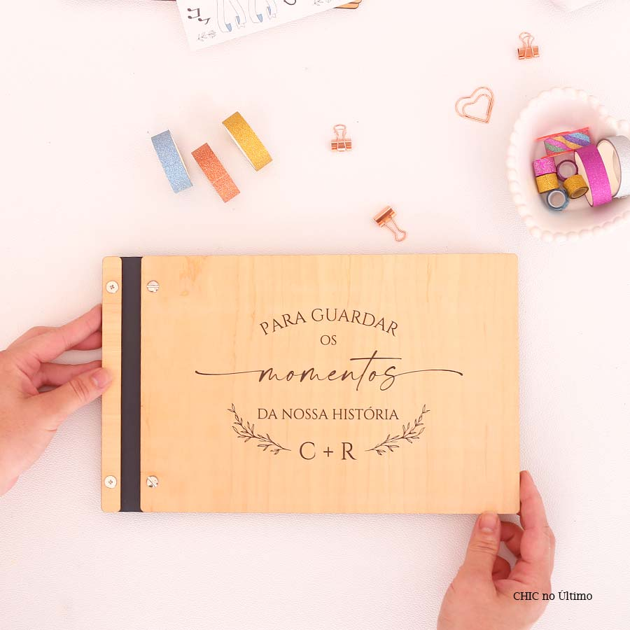Livro Álbum Personalizado P/ Fotos Scrapbook Casamento
