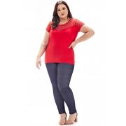 Blusa Lepoque Plus Size Em Viscolycra C/ Chiffon Poa (Vermelha)