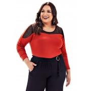 Blusa Lepoque Plus Size Em Viscolycra Com Detalhe Em Renda (Terra)