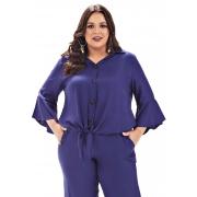 Blusa Lepoque Plus Size Em Viscose Sarjada Botao E Amarracao (Azul)