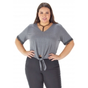 Blusa Lepoque Plus Size Viscolycra Com Amarração (Mescla Escuro)