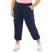 Calça Cargo Lepoque Plus Size Em Moletinho (Azul Marinho)