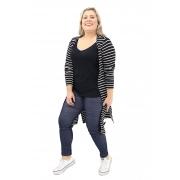 Cardigan Lepoque Plus Size Alongado Viscolycra Listrada (Preto Com Branco)