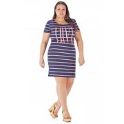 Vestido Lepoque Plus Size Viscolycra Listrada (Azul Marinho/Coral)