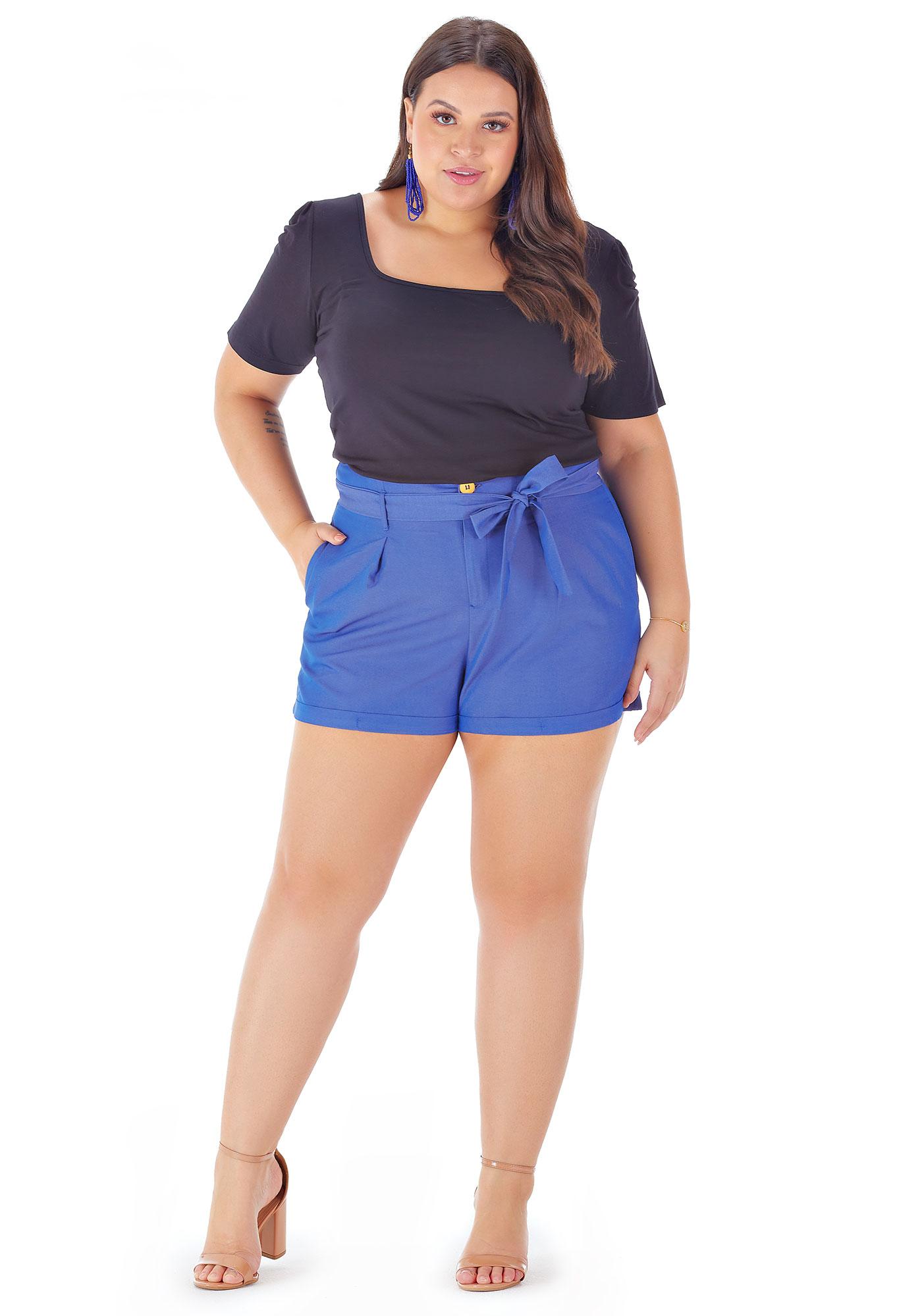 Bermuda Lepoque Plus Size em Tecido Denin (Jeans Escuro)