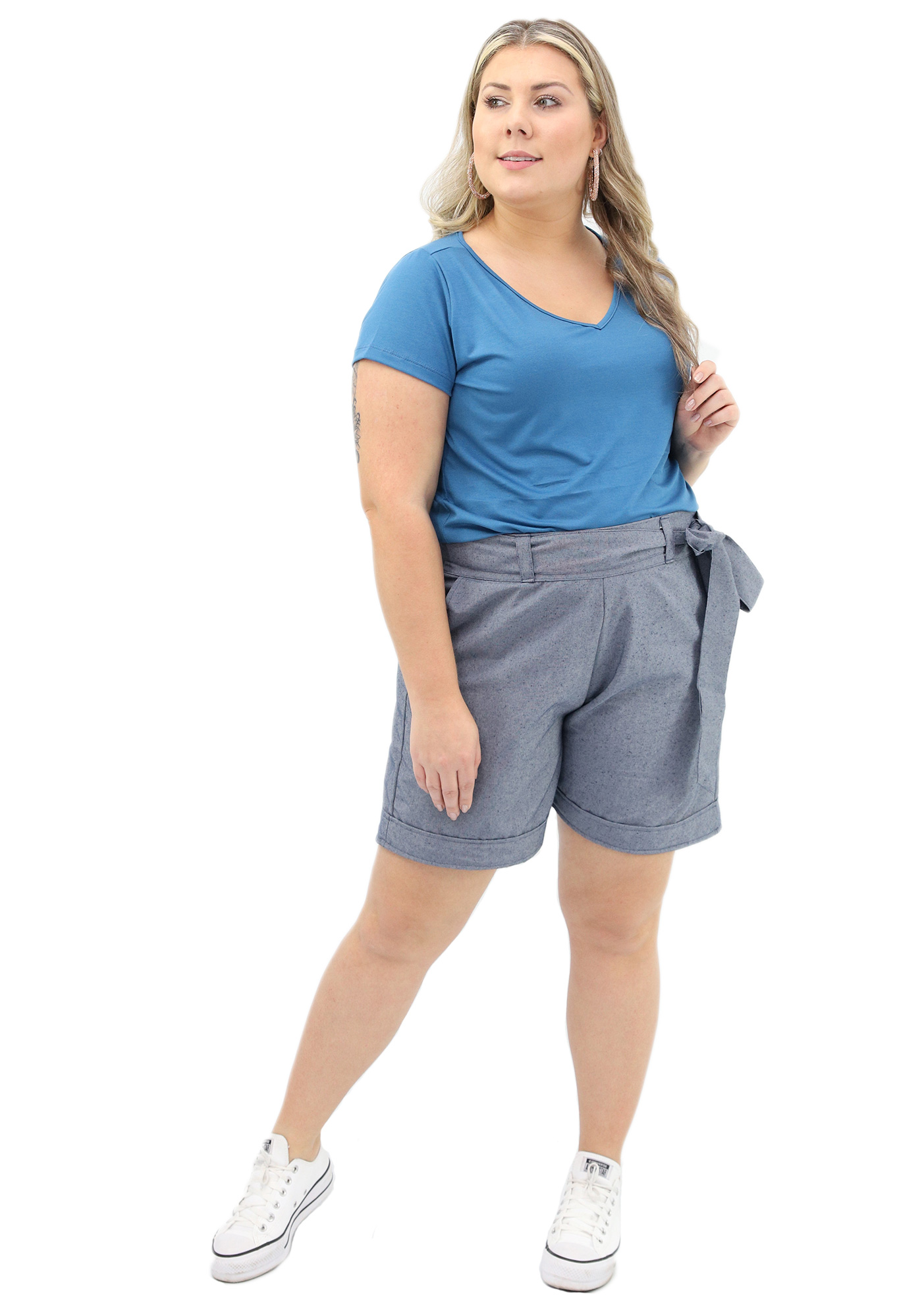 Bermuda Lepoque Plus Size Tecido Ecologico (Azul Jeans)