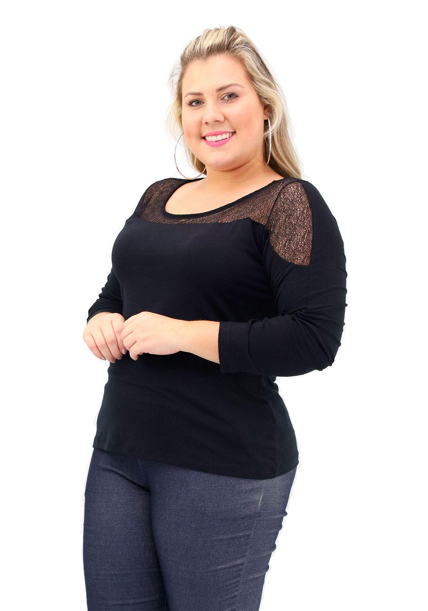 Blusa Lepoque Plus Size Em Viscolycra Com Detalhe Em Renda (Preto)