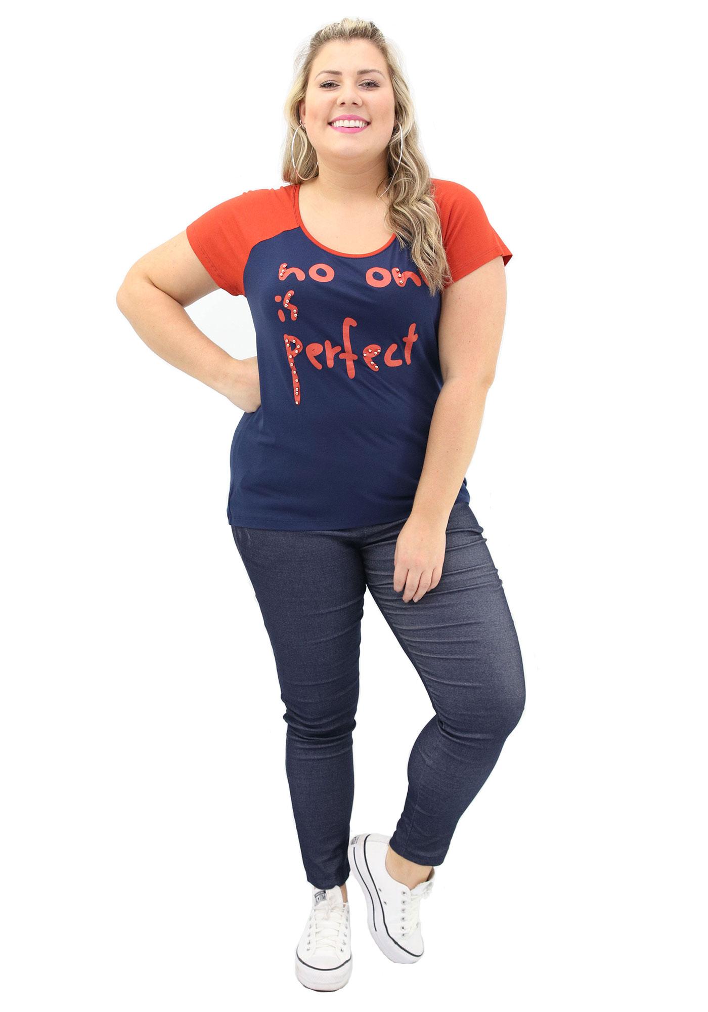 Blusa Lepoque Plus Size Em Viscolycra Com Estampa Frontal (Azul Marinho)