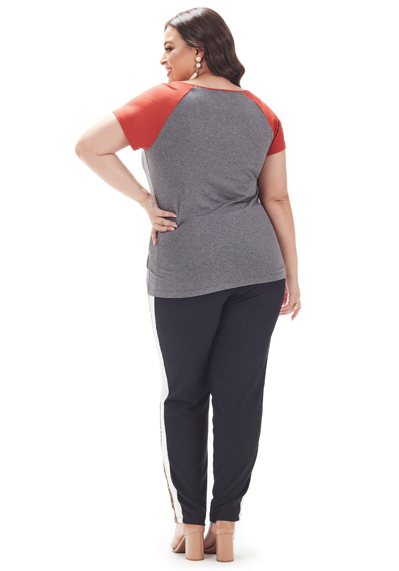 Blusa Lepoque Plus Size Em Viscolycra Com Estampa Frontal (Mescla Escuro)