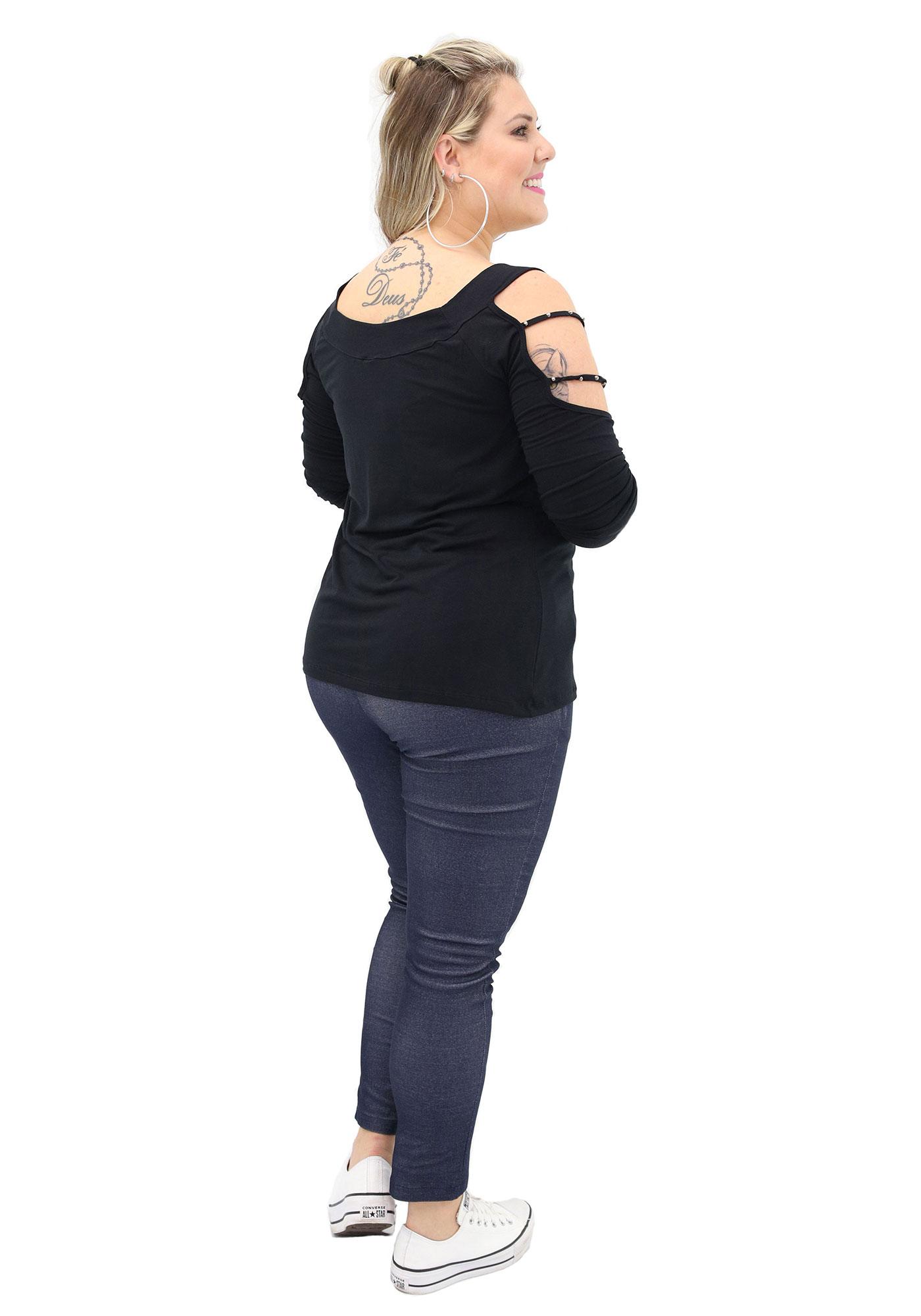 Blusa Lepoque Plus Size Em Viscolycra Com Frisos Manga E Bordado (Preto)