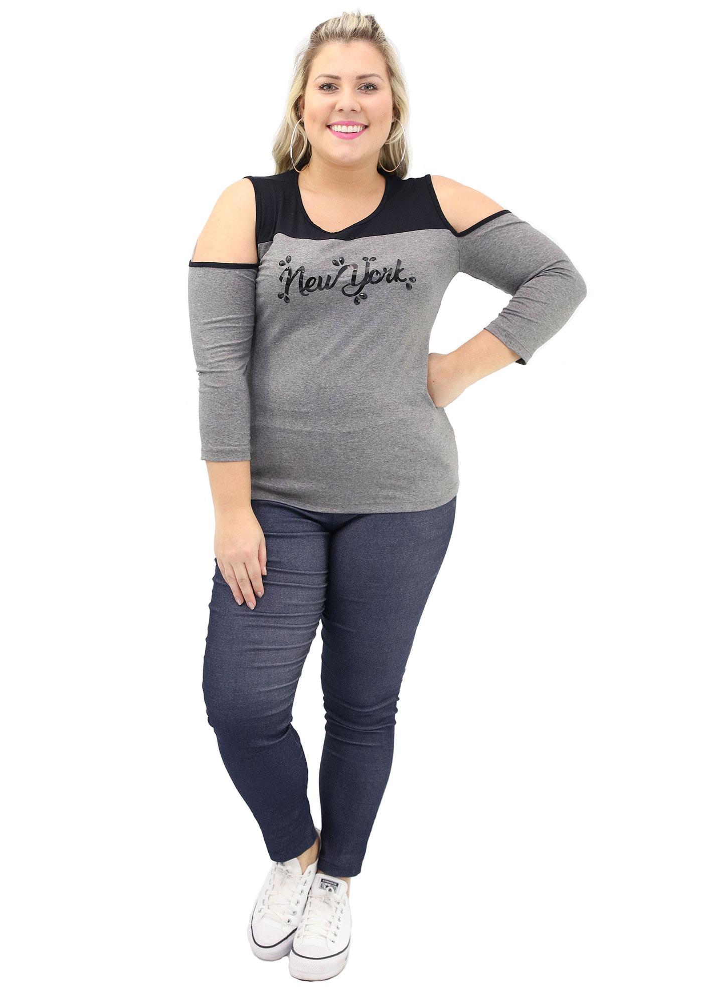 Blusa Lepoque Plus Size Em Viscolycra Com Recorte E Ombros Vazados (Mescla Escuro)