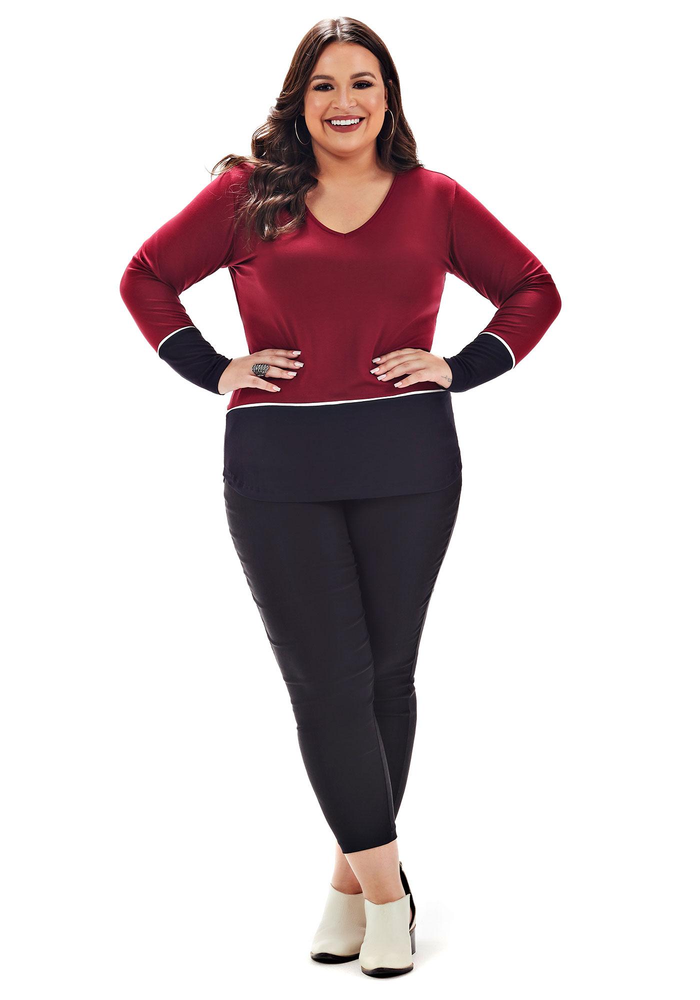 Blusa Lepoque Plus Size Em Viscolycra Recortes Frente (Bordo)
