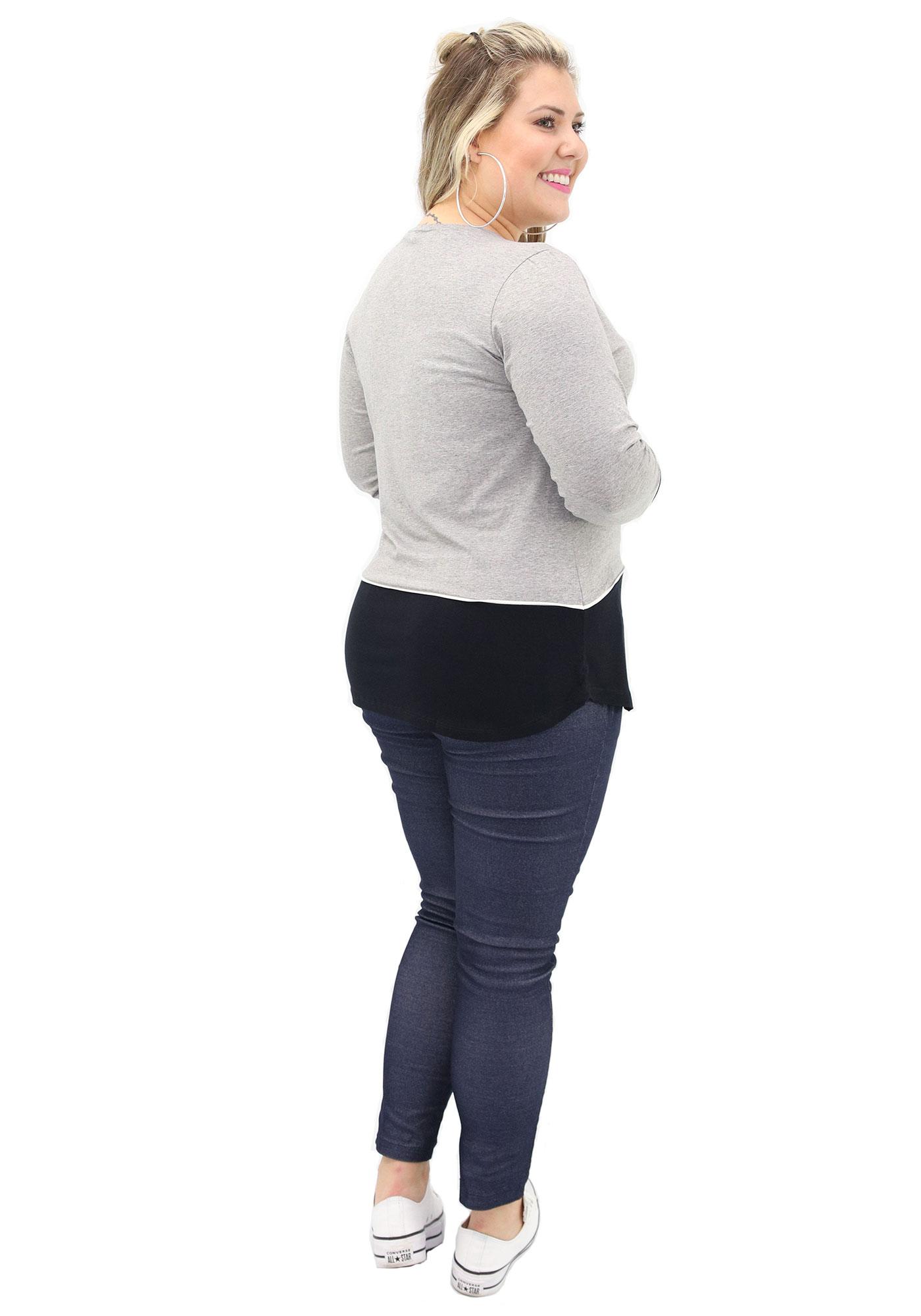 Blusa Lepoque Plus Size Em Viscolycra Recortes Frente (Mescla Claro)