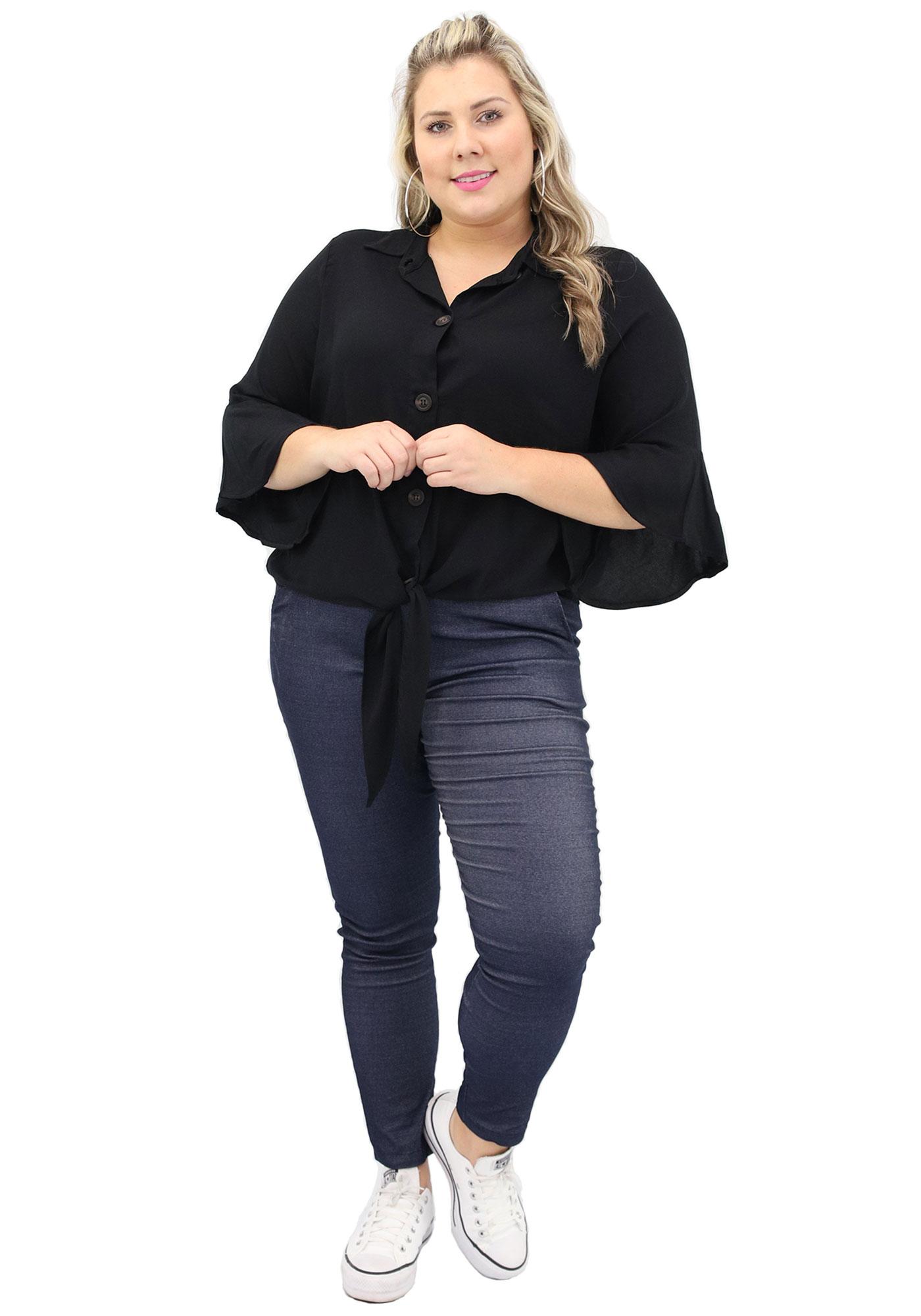 Blusa Lepoque Plus Size Em Viscose Sarjada Botao E Amarracao (Preto)