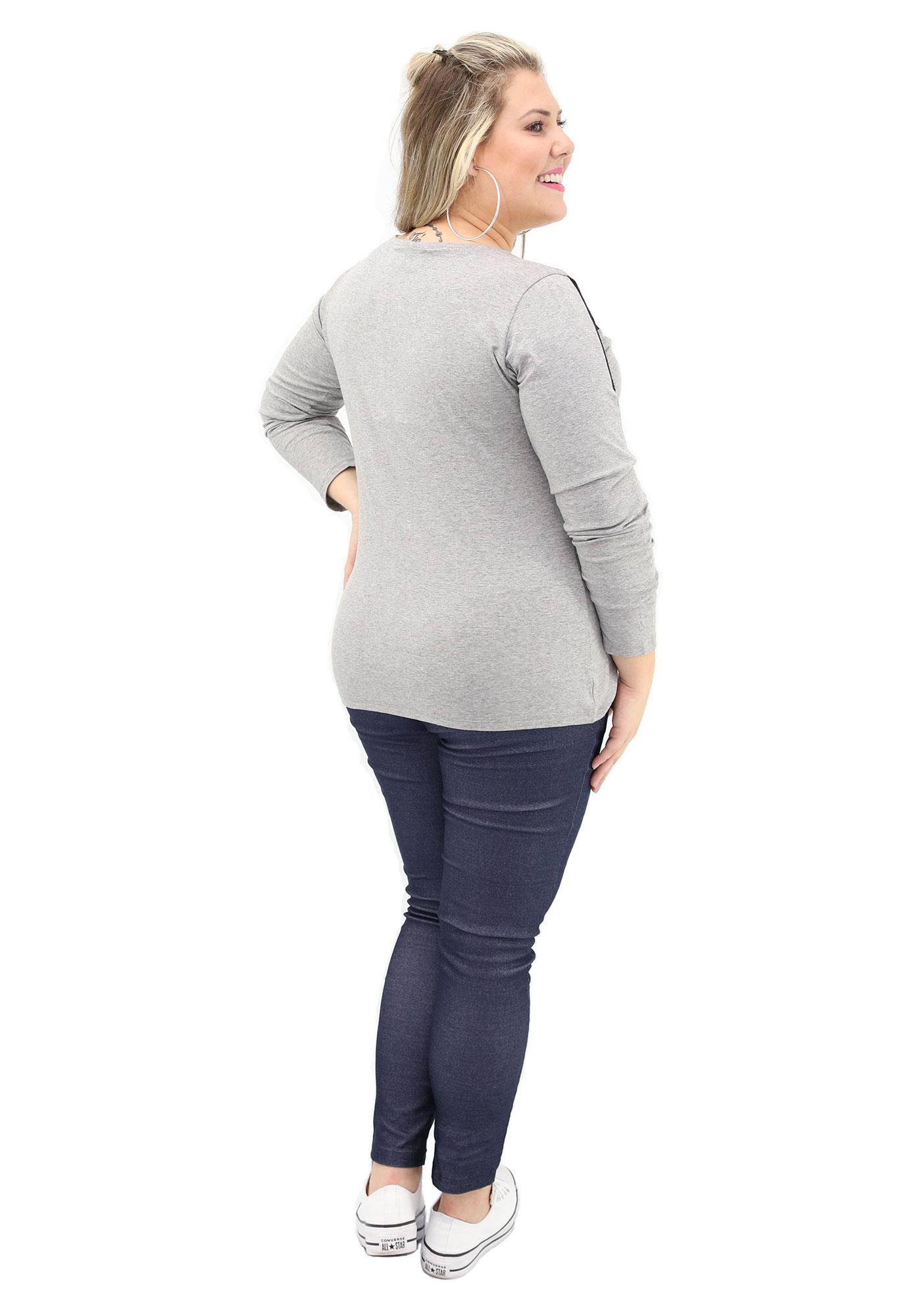Blusa Lepoque Plus Size Viscolycra Com Detalhe Em Renda (Mescla Claro)