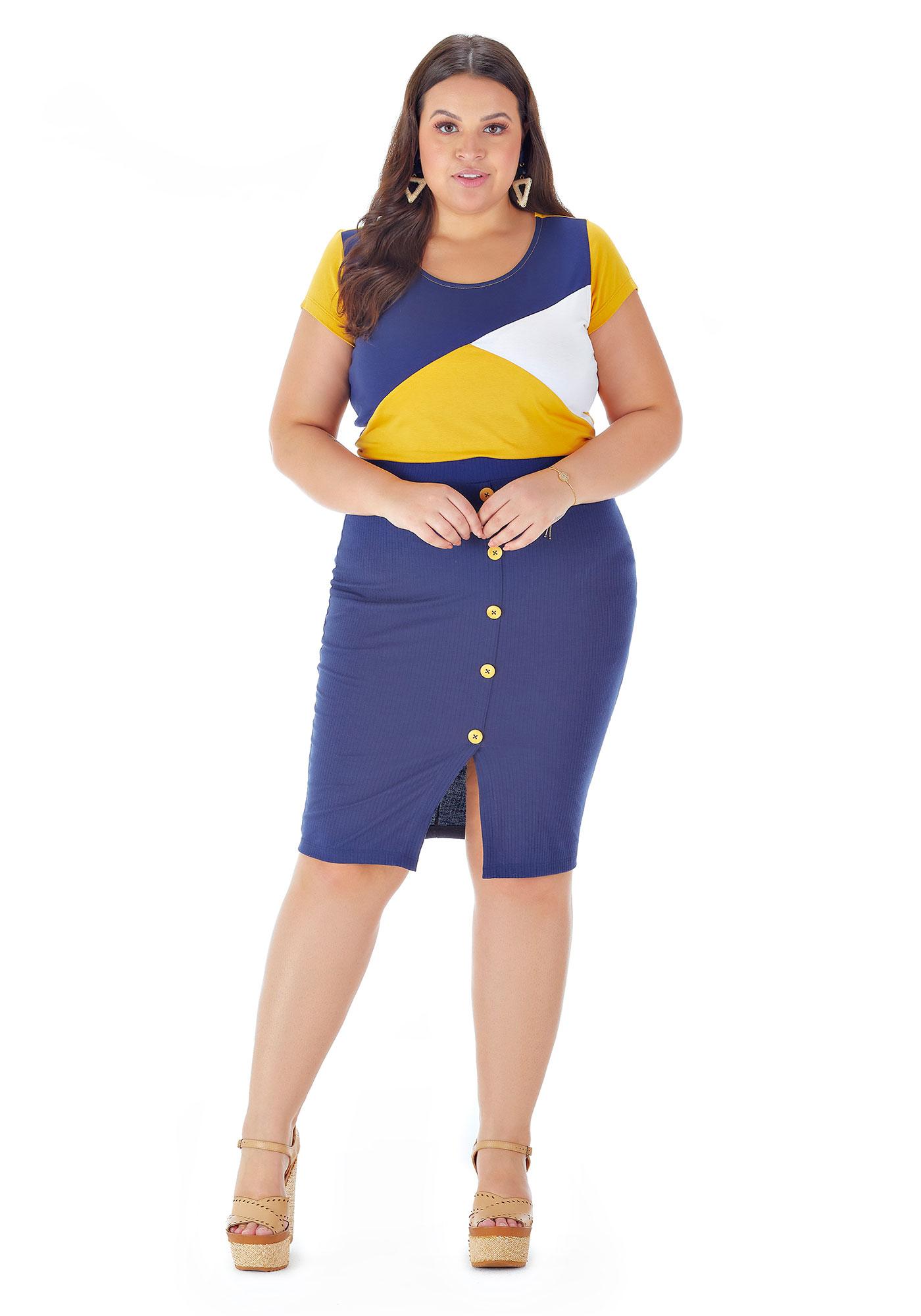 Blusa Lepoque Plus Size Viscolycra Com Recortes (Marinho)
