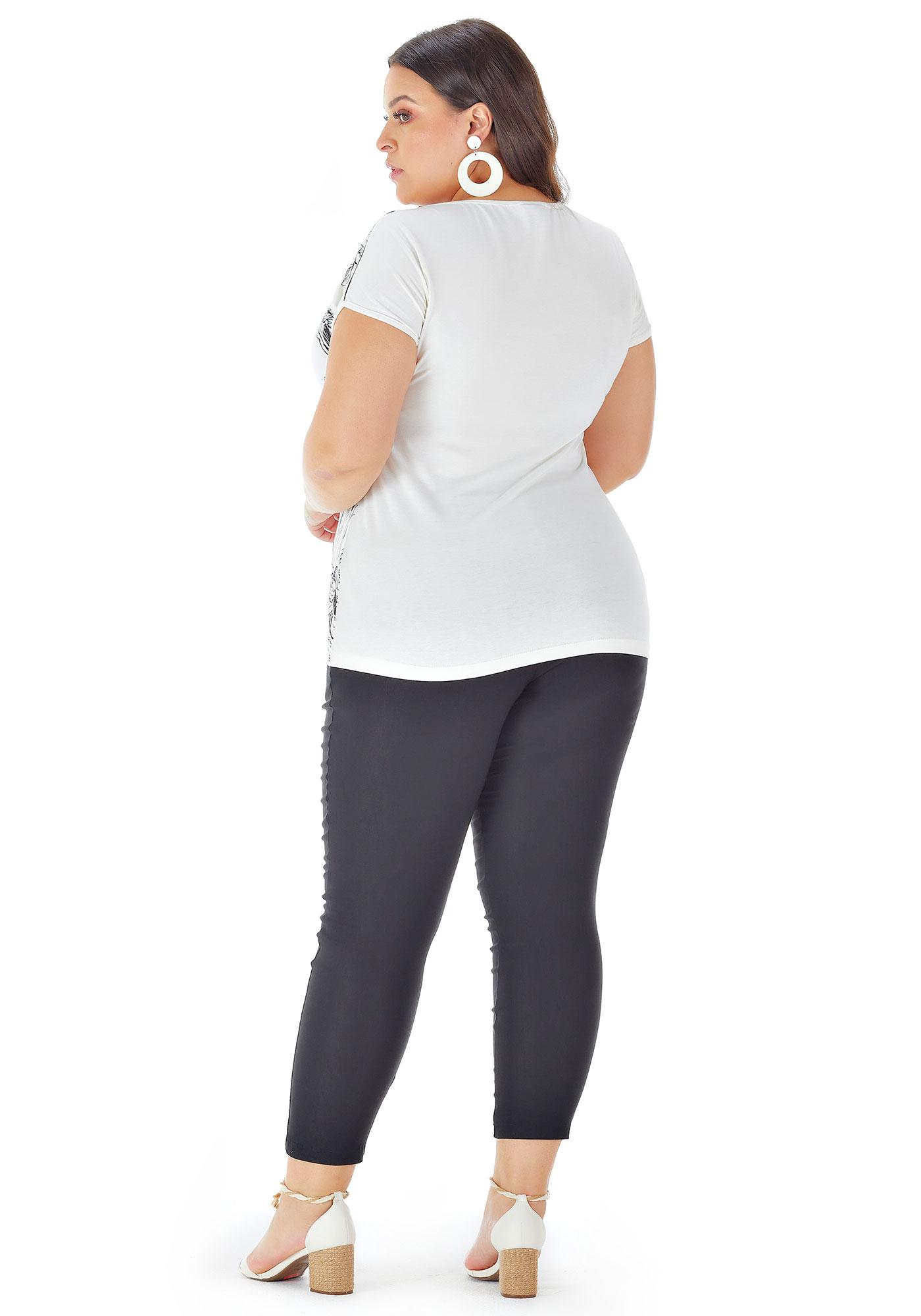 Blusa Lepoque Plus Size Viscolycra Com Transparencia Decote (Off-white)