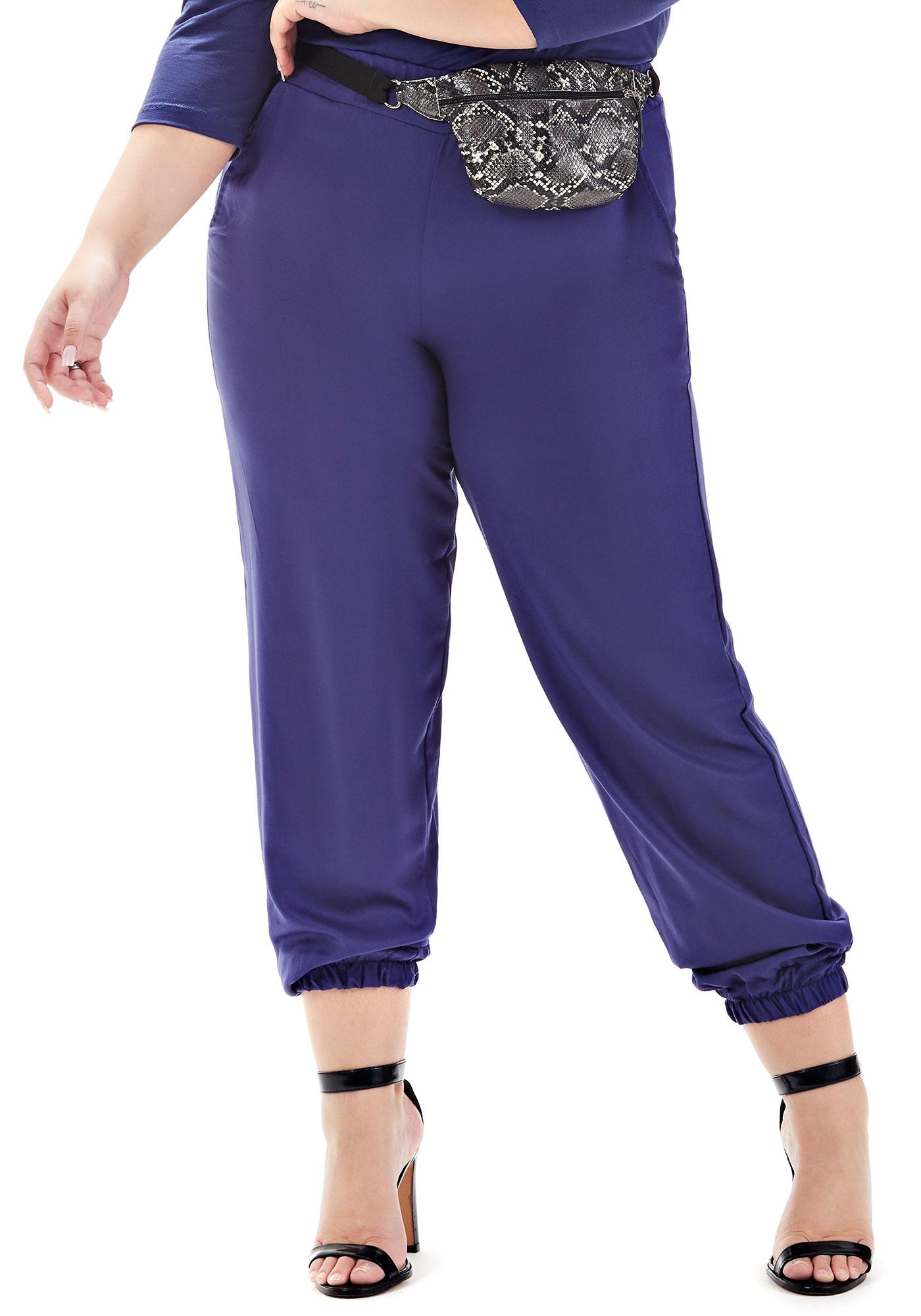 Calça Jogger Lepoque Plus Size Em Viscose Sarjada ( Azul)