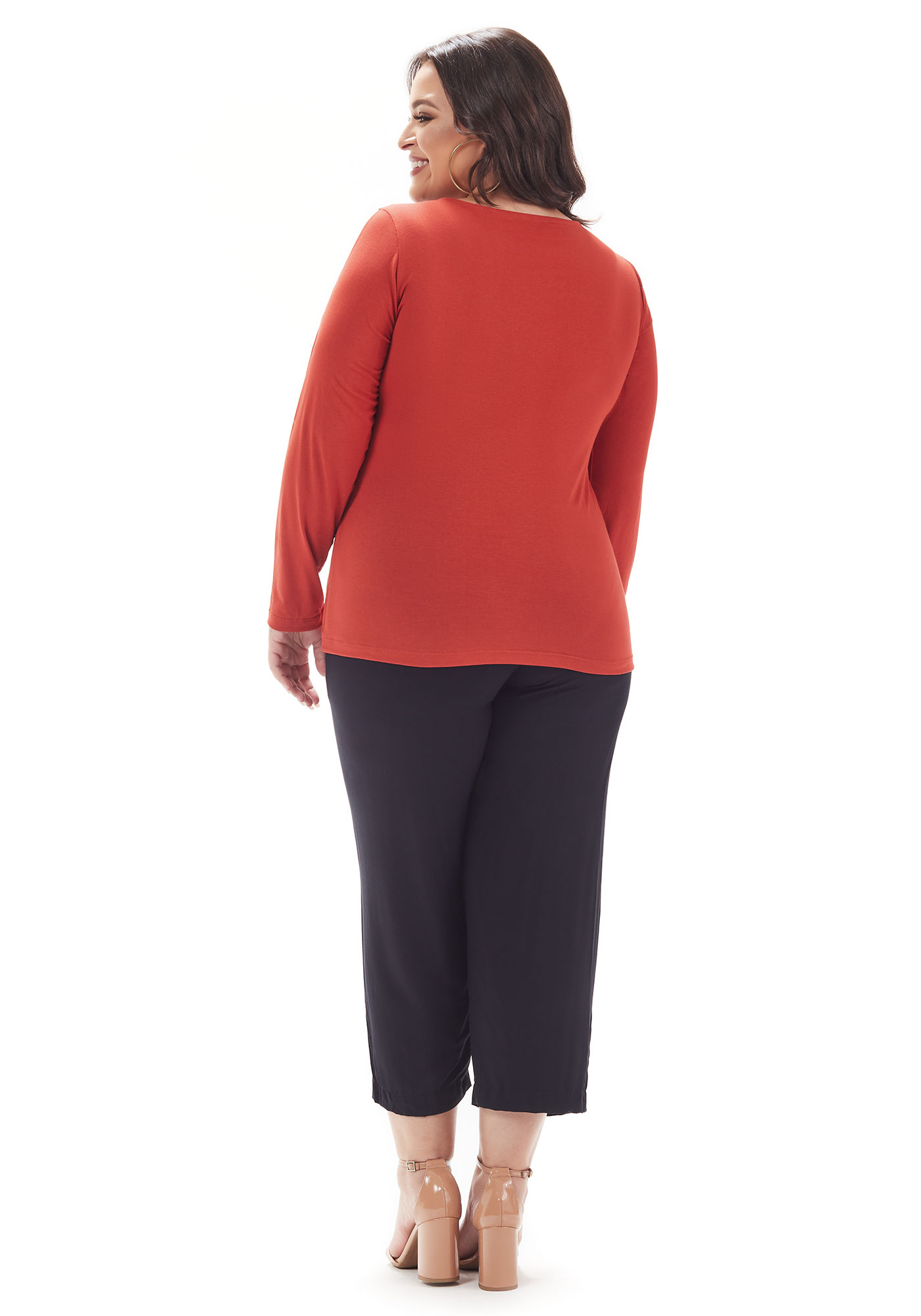 Calça Lepoque Plus Size Em Viscose Sarjada Com Passante (Preto)