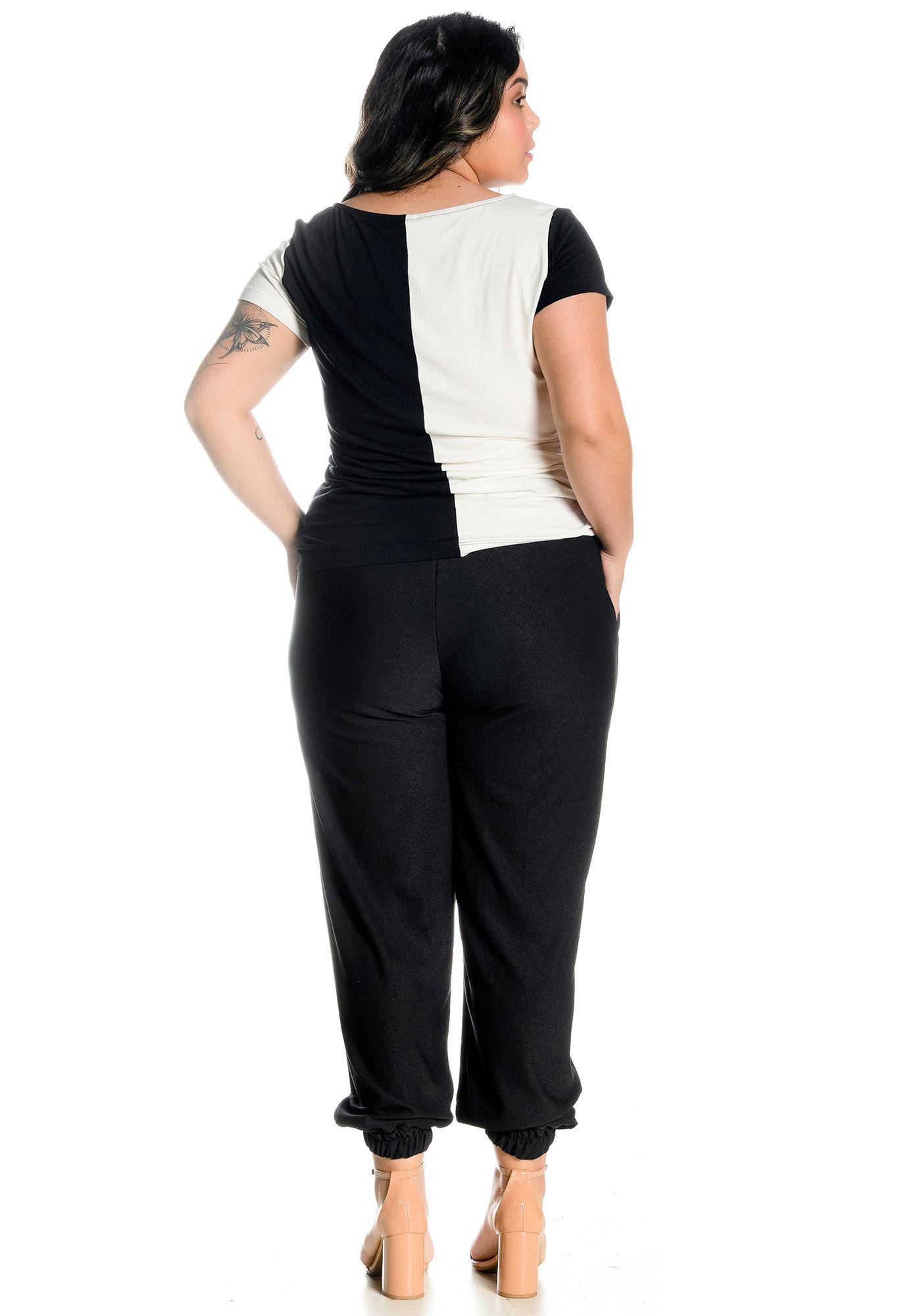 Calça Lepoque Plus Size Malha Crepe Básica (Preto)