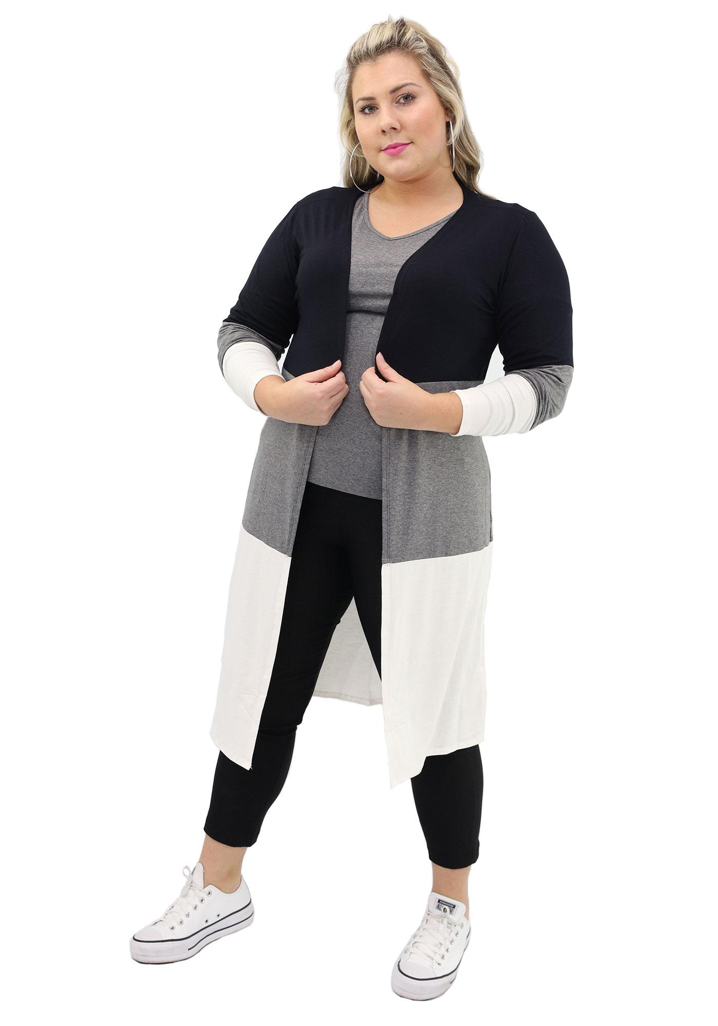 Cardigan Lepoque Plus Size Alongado Colors (Mescla Escuro)