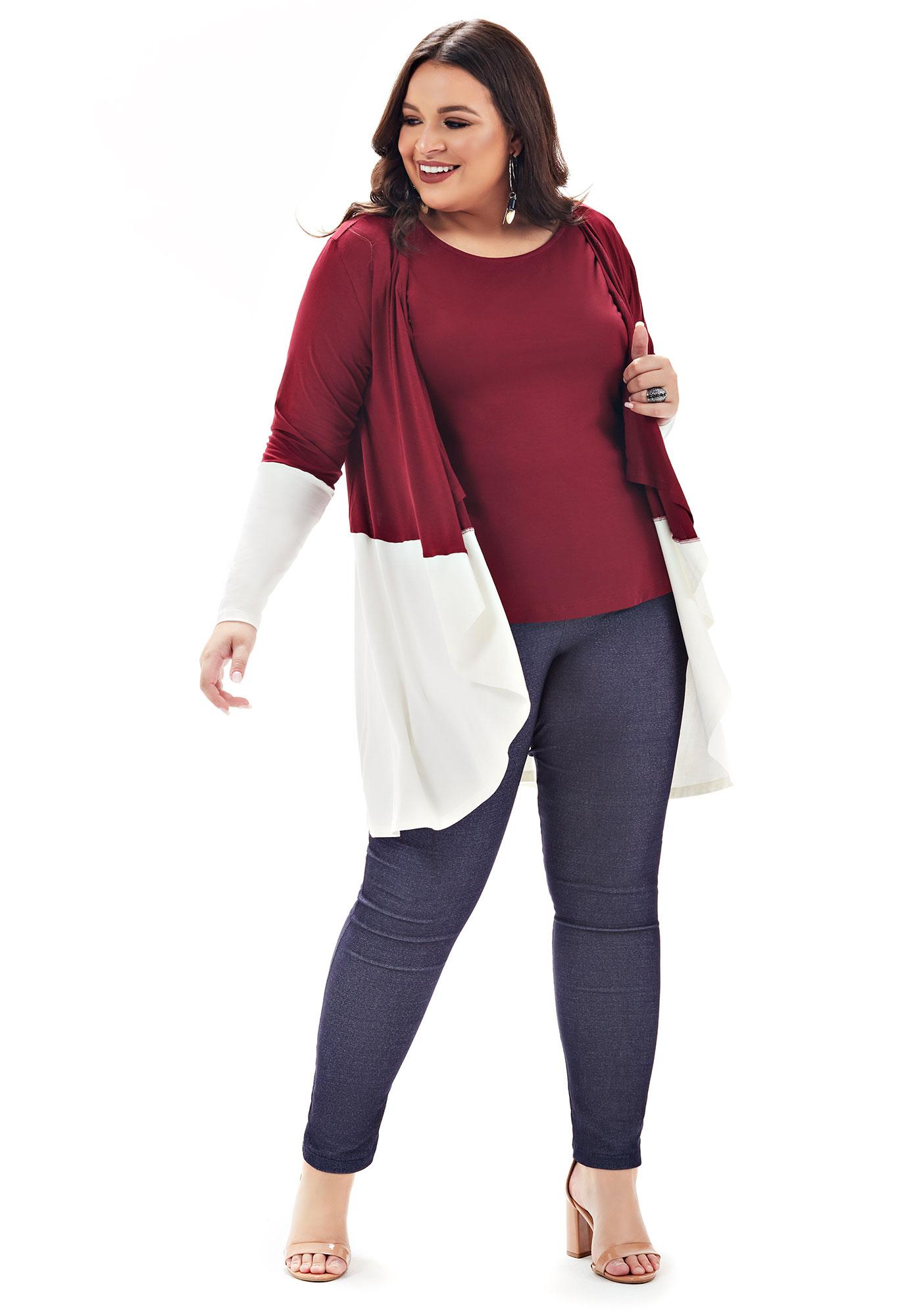 Cardigan Lepoque Plus Size Em Viscolycra Bicolor (Bordô)