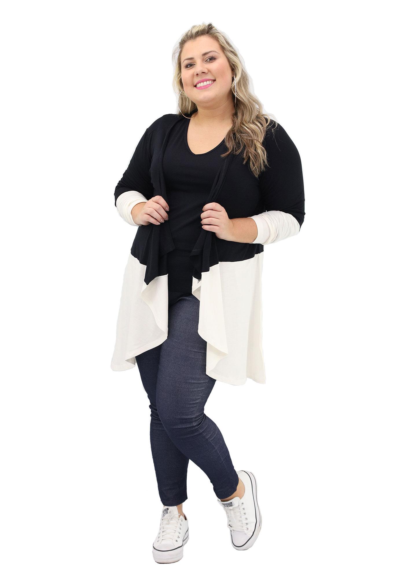 Cardigan Lepoque Plus Size Em Viscolycra Bicolor (Preto)