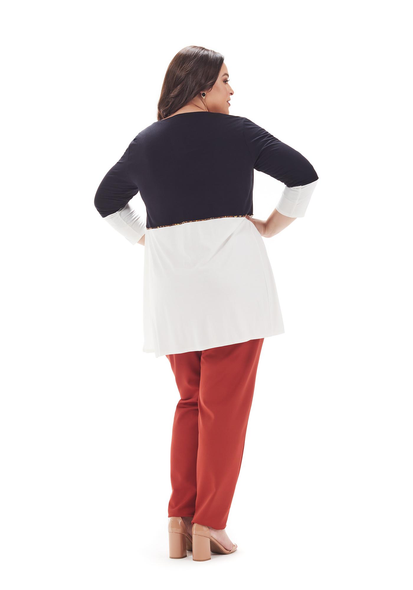 Cardigan Lepoque Plus Size em Viscolycra Bicolor (preto com branco)