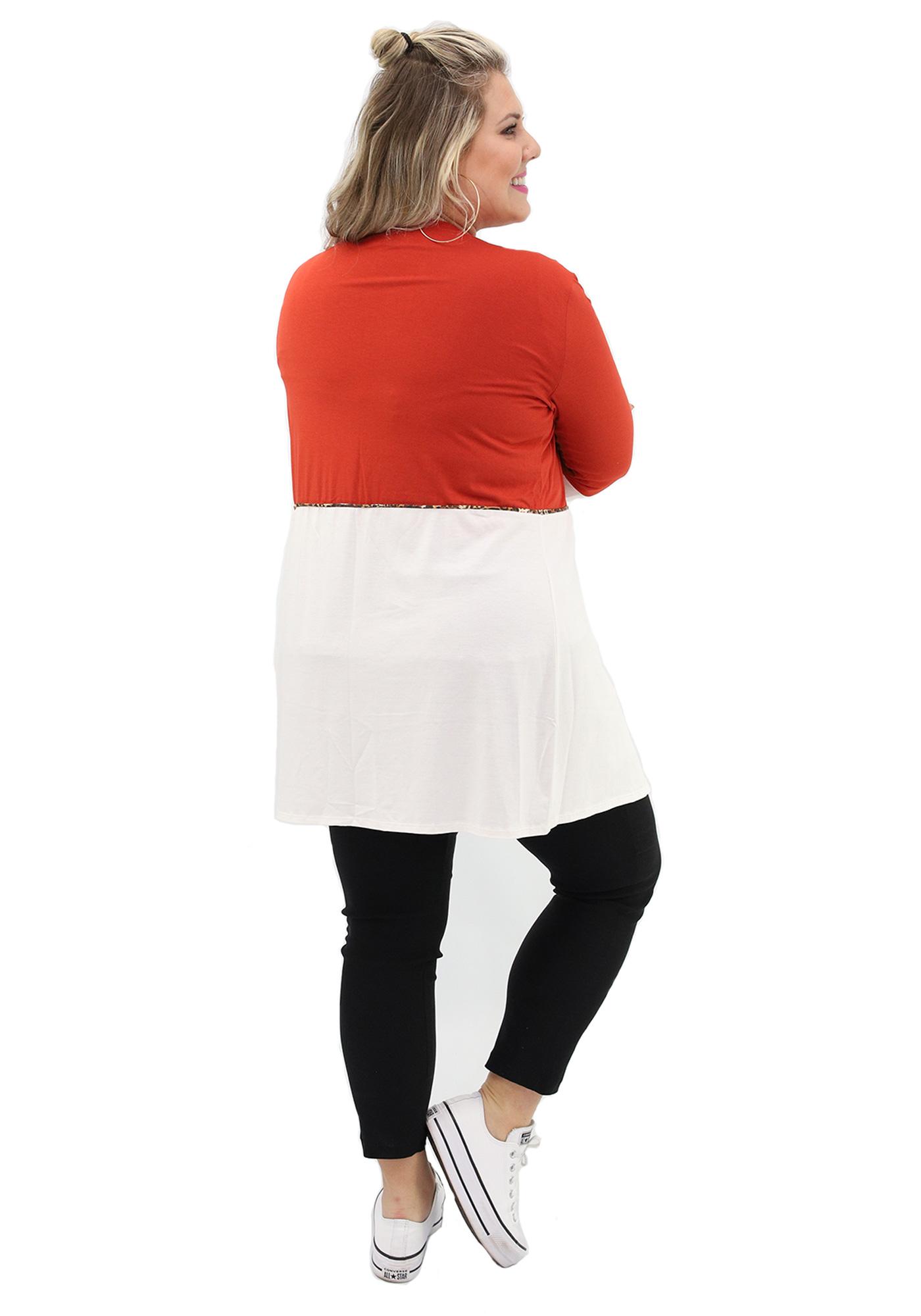 Cardigan Lepoque Plus Size em Viscolycra Bicolor (TERRA)