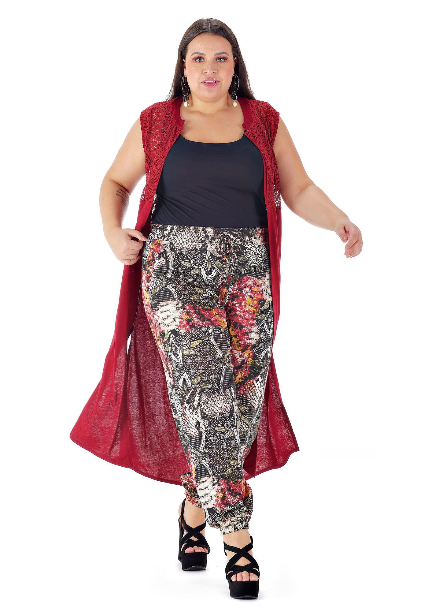 Cardigan Lepoque Plus Size Viscolycra Com Renda (Bordô)