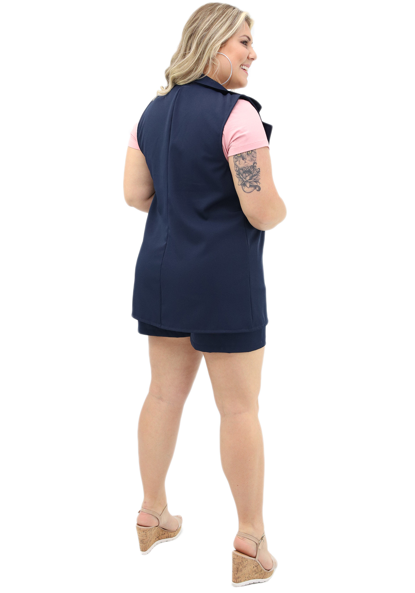 Colete Lepoque Plus Size Tecido Two Way (Azul Marinho)