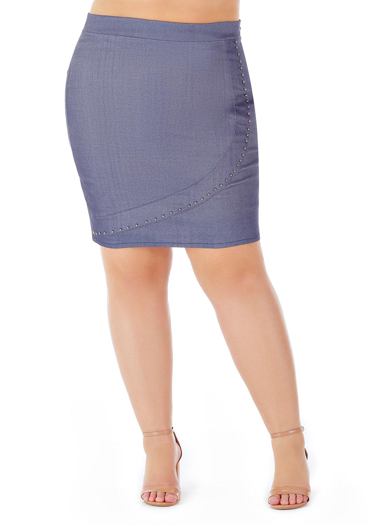 Saia Lepoque Plus Size Bengaline Com Botões (Jeans)