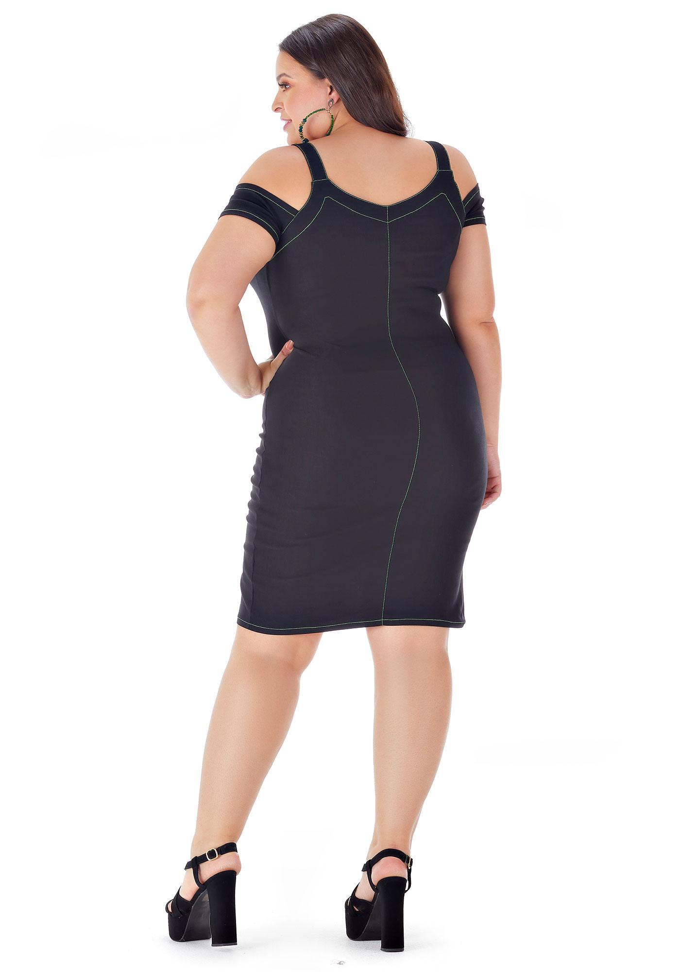 Vestido Lepoque Plus Size Bengaline Linha Contrastante (Preto)