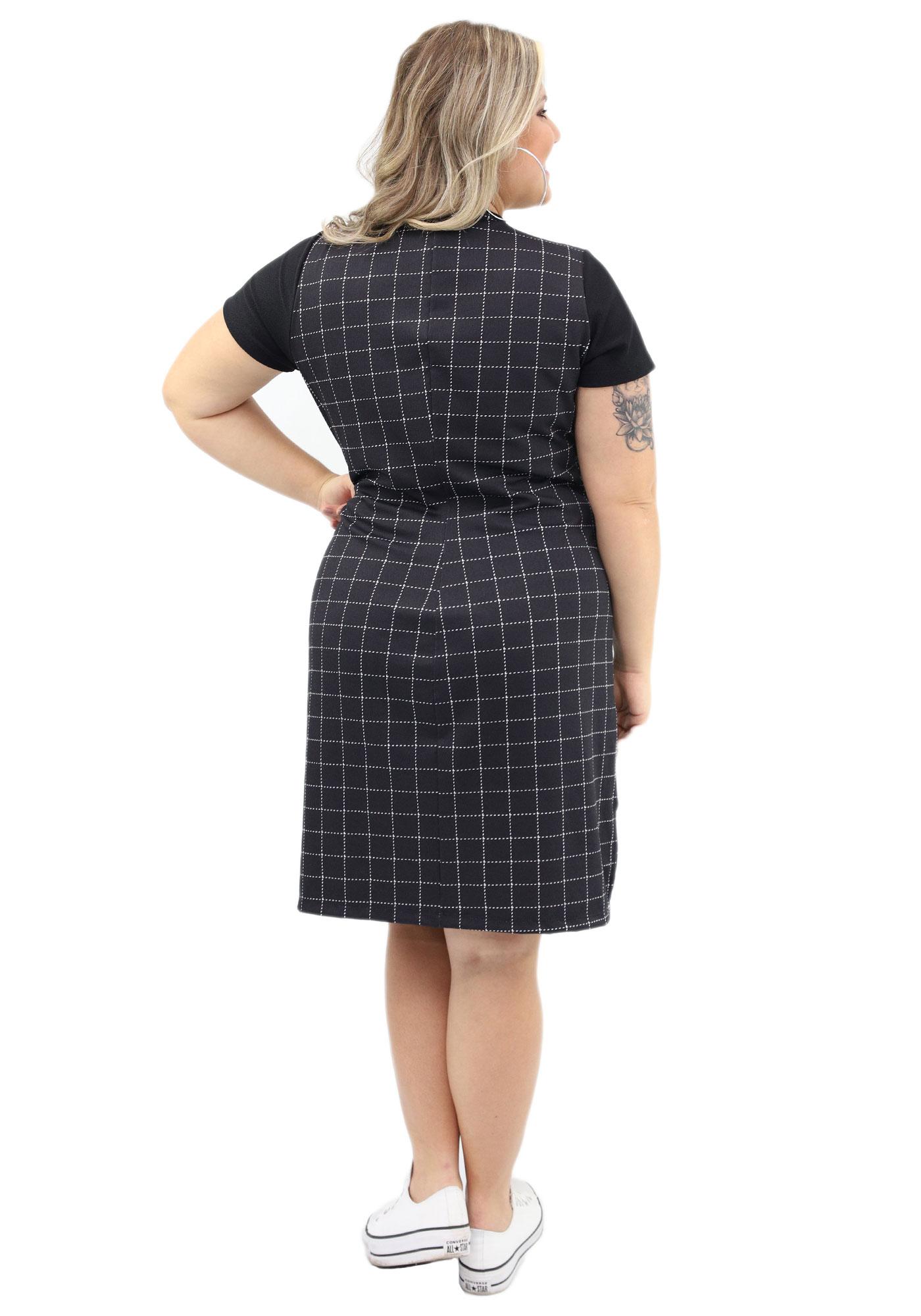 Vestido Lepoque Plus Size Crepe Elegance (Preto)
