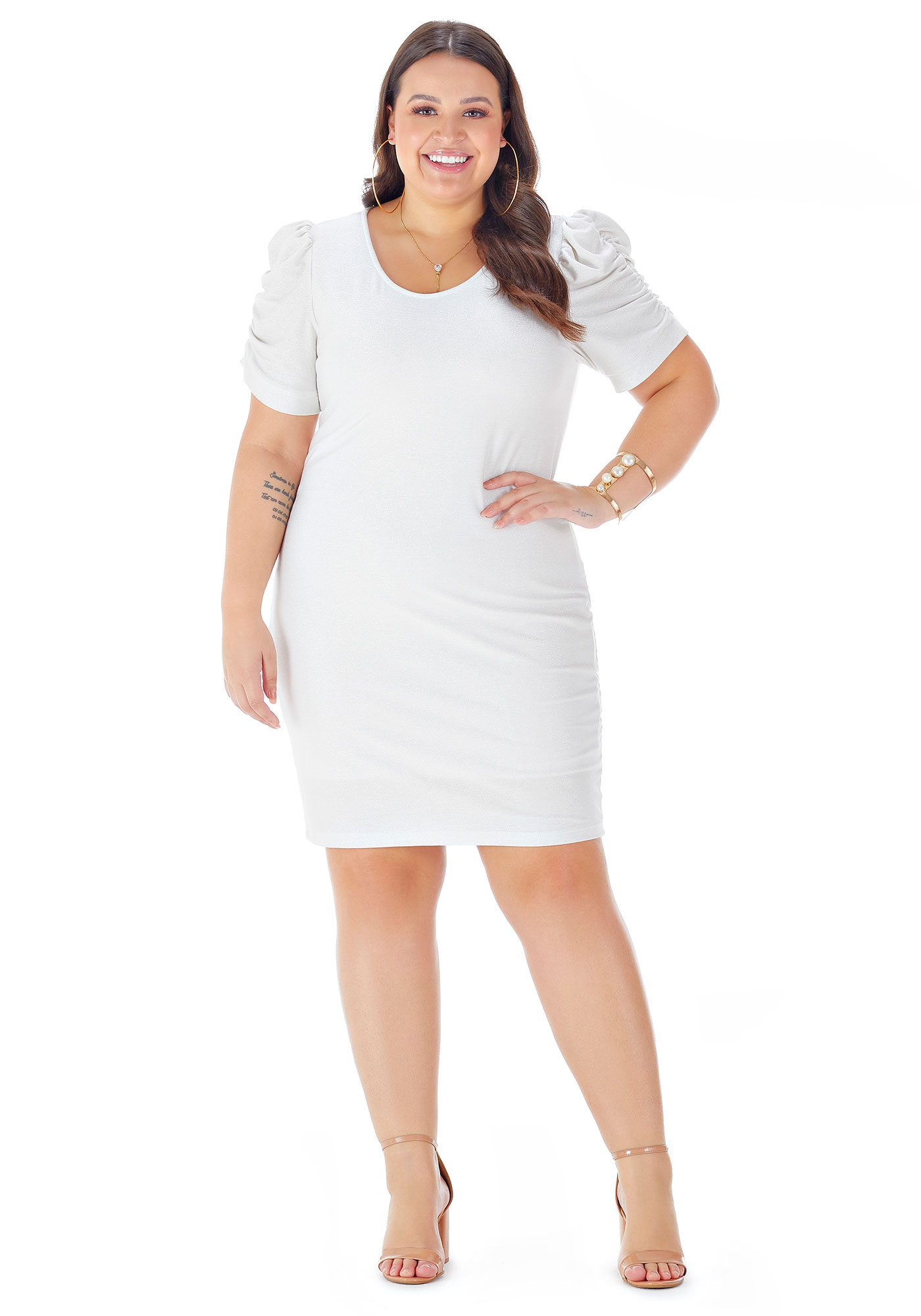 Vestido Lepoque Plus Size Malha Brilho Mangas Bufantes (Branco)